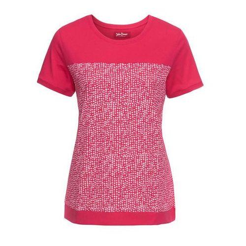 Shirt z przędzy mieszankowej, krótki rękaw czarny z nadrukiem, Bonprix, 32-50