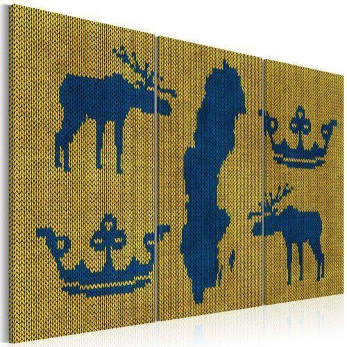 Obraz - Mapa świata: sweter z motywem Szwecji - tryptyk, A0-N2142 (5426963)