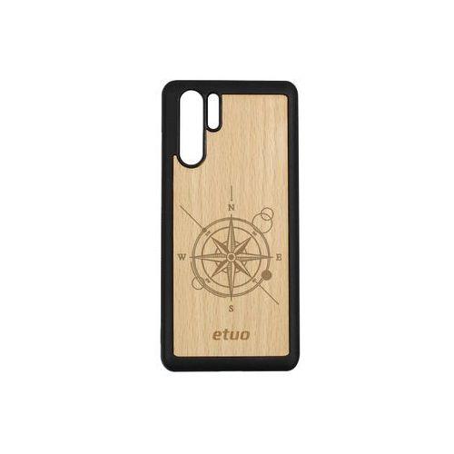 Huawei P30 Pro - etui na telefon Wood Case - buk - kompas, ETHW848EWODBK002000