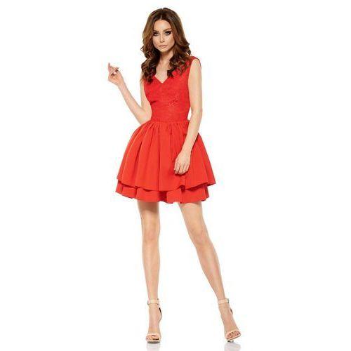 Czerwona Wieczorowa Sukienka z Koronką z Rozkloszowanym Dołem