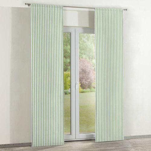 zasłony panelowe 2 szt., zielono białe pasy (1,5cm), 60 x 260 cm, quadro marki Dekoria