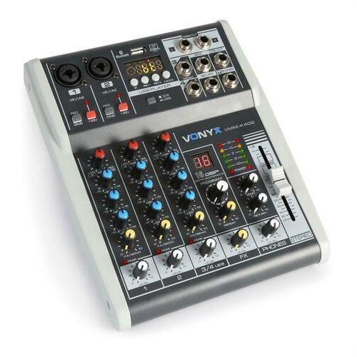 Vonyx vmm-k402 4-kanałowy mikser muzyczny bluetooth interfejs audio usb (8715693292299)