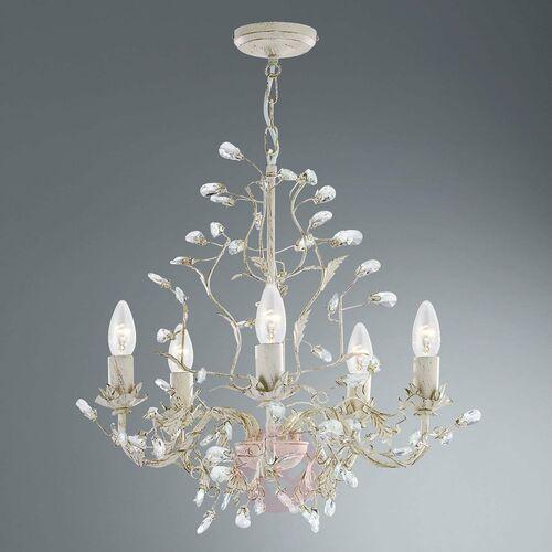 Searchlight Almandite lampa wisząca 5 kremowe złoto kryształ