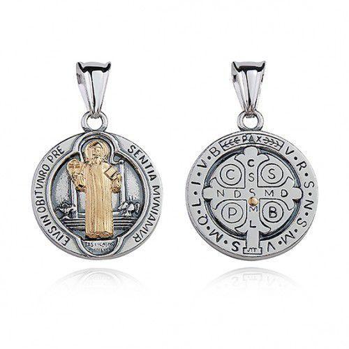 Srebrny oksydowany medalik pr.925 Święty Benedykt z pozłacanym wizerunkiem, M0190OX_Z