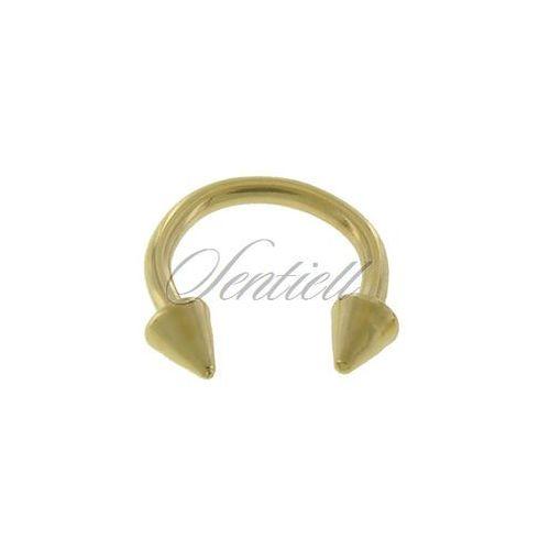 Stalowy (316L) kolczyk podkówka z grotami - złota