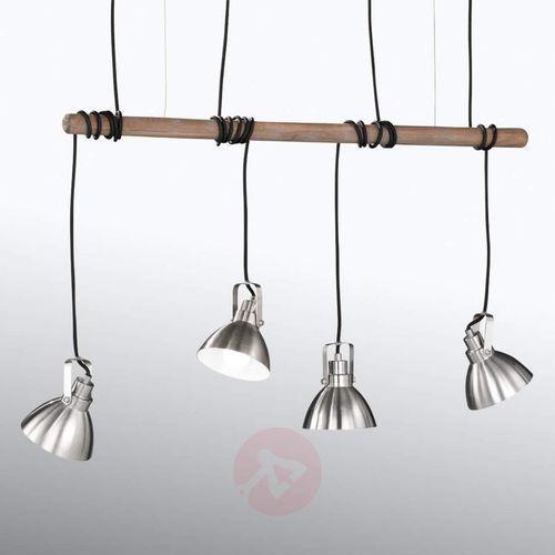Trio-Leuchten Timber Lampa Wisząca Ciemne drewno, 4-punktowe - Nowoczesny - Obszar wewnętrzny - TIMBER - Czas dostawy: od 4-8 dni roboczych (4017807353792)