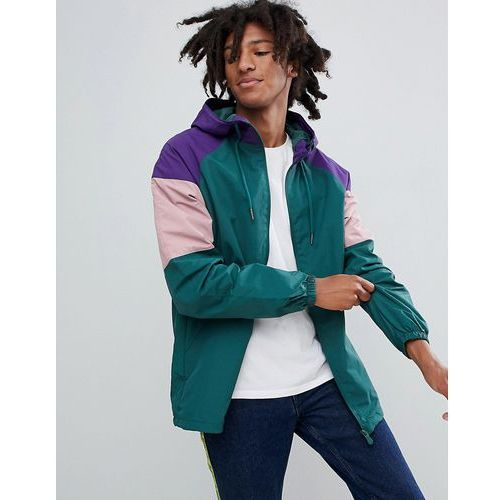 Pull&Bear Nylon Jacket With Coloured Panels In Green - Green