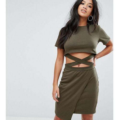 Asos petite t-shirt mini bodycon dress with cut about straps - multi