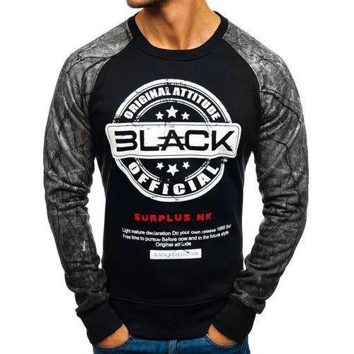 Bluza męska bez kaptura z nadrukiem czarno-szara denley dd258 marki J.style