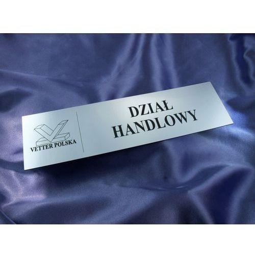 Szyldy dla twojej firmy - z nazwami pomieszczeń i logotypem - 29x8cm - rogi prostokątne wyprodukowany przez Grawernia.pl - grawerowanie i wycinanie laserem