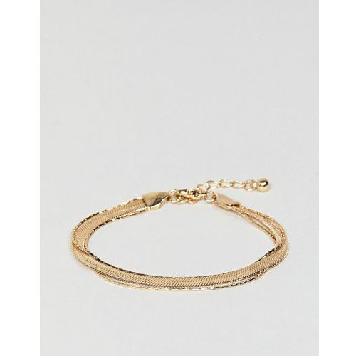 Asos design multirow bracelet with vintage style flat snake chain in gold - gold