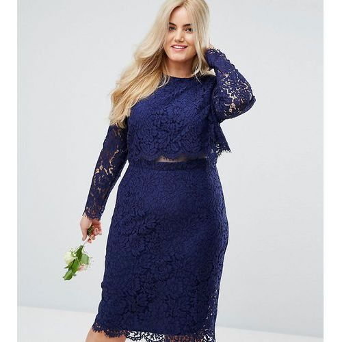 Asos design curve bridesmaid lace long sleeve midi pencil dress - navy marki Asos curve