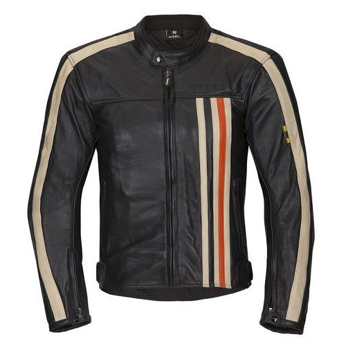 Męska skórzana kurtka motocyklowa W-TEC NF-1114, Czarno-pomarańczowo-beżowy, 4XL (8596084036278)