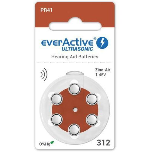 Everactive 6 x baterie do aparatów słuchowych ultrasonic 312 (5902020523178)