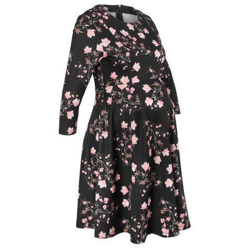 Sukienka ciążowa neoprenowa czarny w kwiaty marki Bonprix