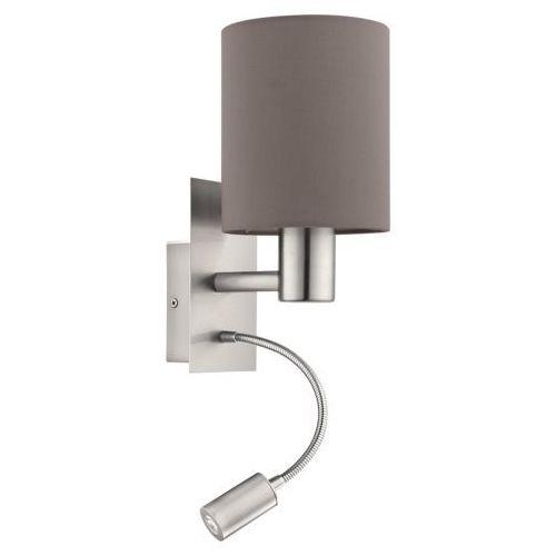 Kinkiet Eglo Pasteri 96481 lampa ścienna 1x40W E27 + 1x3,5W LED antracyt/nikiel