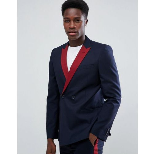 skinny double breasted suit jacket in navy with wine lapel - navy, Asos
