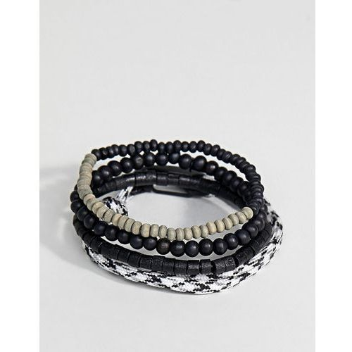 Icon Brand Black Cord & Beaded Bracelet In 4 Pack Exclusive To ASOS - Black, kolor czarny