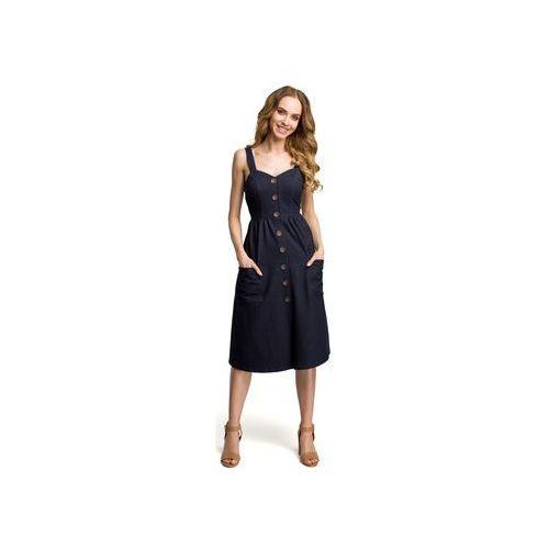 Sukienki Moe M375 Sukienka na szelkach z guzikami