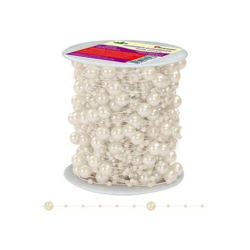 Girlanda perłowa sznurek z perełkami kremowe 20m - kremowy / perłowy marki Titanum