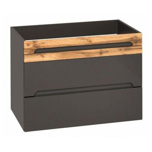 Producent: elior Podwieszana szafka pod umywalkę z szufladami - marbella 4x grafit połysk 80 cm