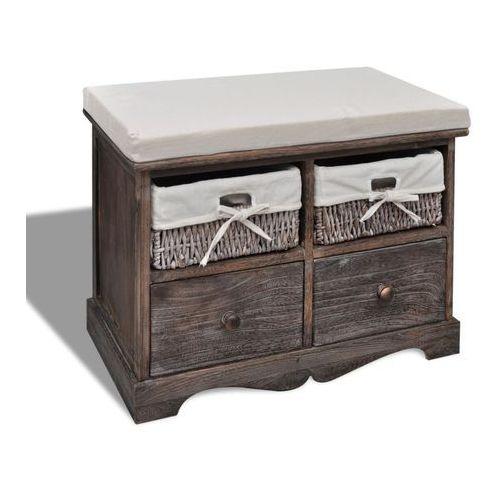 Vidaxl ławka drewniana z 4 szufladami oraz poduszką (brązowa)