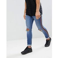 Jaded London Muscle Fit Distressed Jeans With Side Stripe In Mid Wash - Blue, jeans