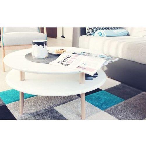 Ragaba Mały stolik kawowy drewniany ufo niski - kolor biały/ nogi naturalny buk