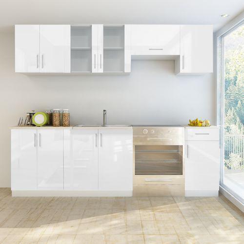 vidaXL Meble kuchenne białe na wysoki połysk 7 elementów (240 cm)
