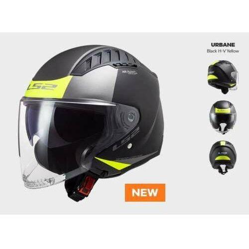 Ls2 Kask motocyklowy kask of600 copter urbane matt black h-v yellow - nowość 2021 roku!