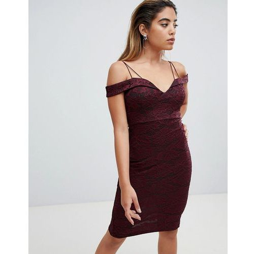 Ax paris off shoulder pencil dress - purple