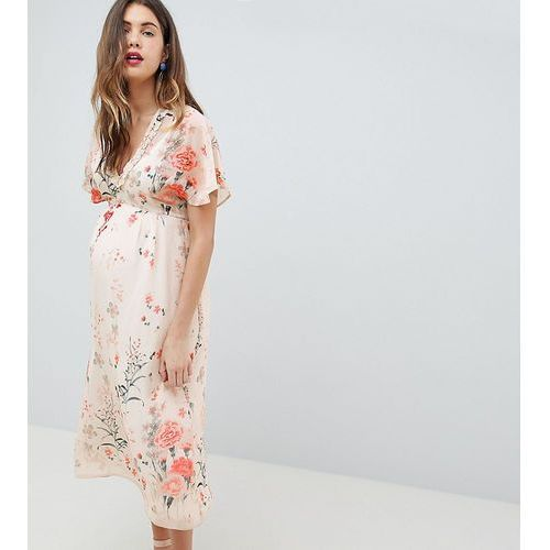 Queen Bee Fluted Sleeve Midi Dress in Floral Print - Multi