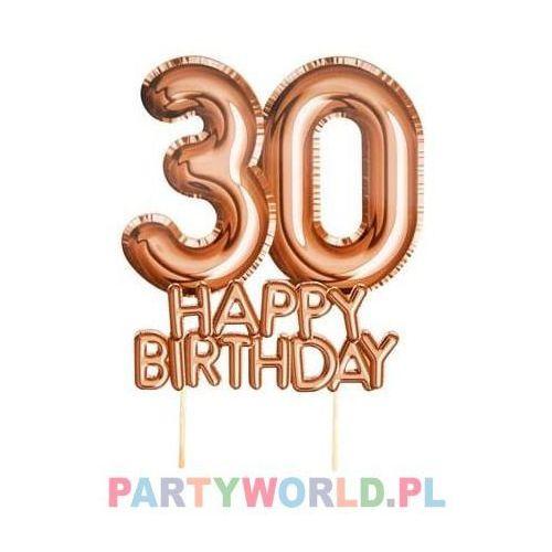"""Napis, topper, dekoracja urodzinowa na tort 30 Happy Birthday """"Glitz & Glamour"""" różowe-złoto"""