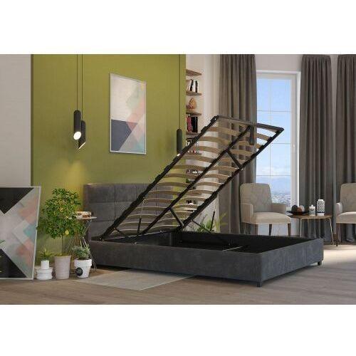 Big meble Łóżko 140x200 tapicerowane arezzo + pojemnik + materac welur ciemno szare