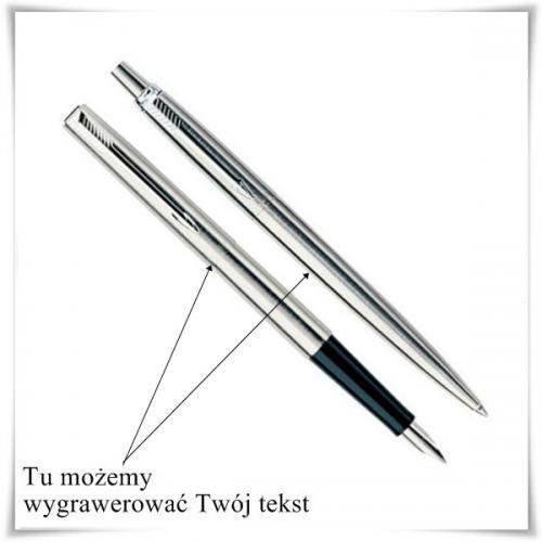 Zestaw pióro i długopis Parker Jotter stalowy CT z opcją grawerowania ()