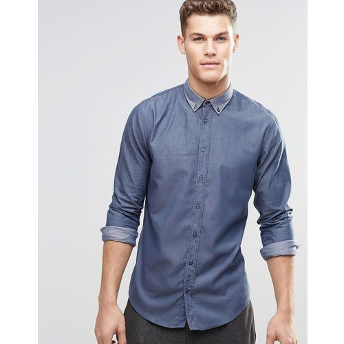 Boss orange  by hugo boss shirt with button down in slim fit navy - navy