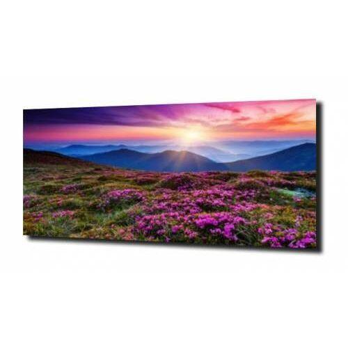 obraz na szkle Drzewo, łąka, kwiaty, góry, C810