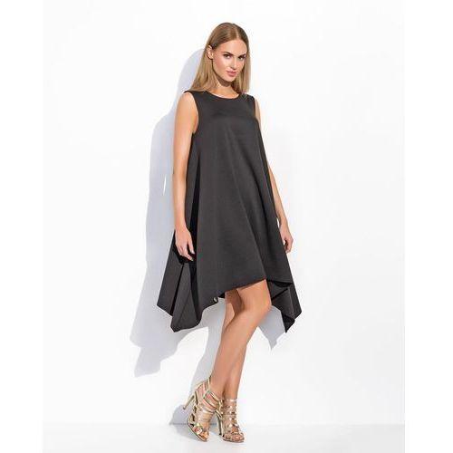 Czarna Asymetryczna Szeroka Sukienka bez Rękawów, asymetryczna