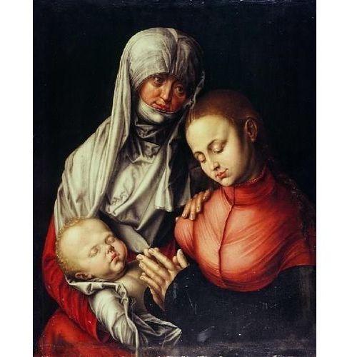 Reprodukcja Święta Anna Samotrzeć (wraz z córką Marią i małym Jezusem) Albrecht Dürer