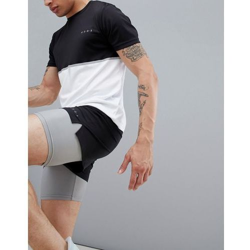 training 2 in 1 shorts in black & grey with quick dry - black marki Asos 4505