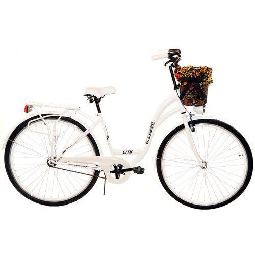 KOZBIKE (K25) Rower miejski damski Kozbike 28 biały (2 wkładki do wyboru)