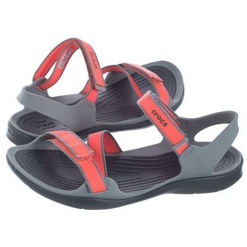 Crocs Sandały swiftwater webbing sandal coral/grey 204804-6pk (cr147-c)