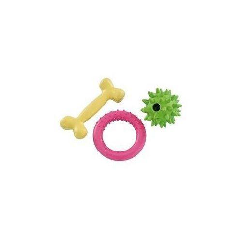 Nobby Zabawka dla zwierząt - zestaw dla szczeniaczka żółta/zielona/różowa