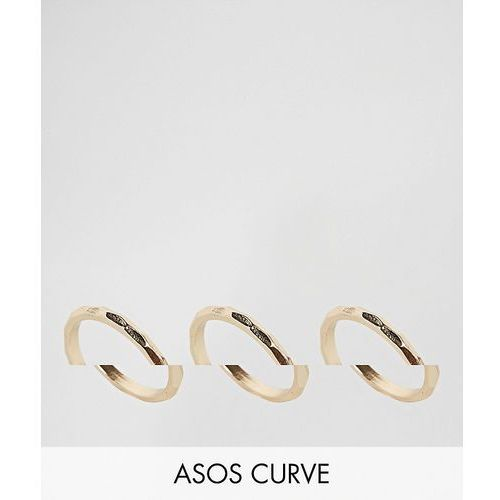 pack of 3 faceted rings - gold marki Asos curve