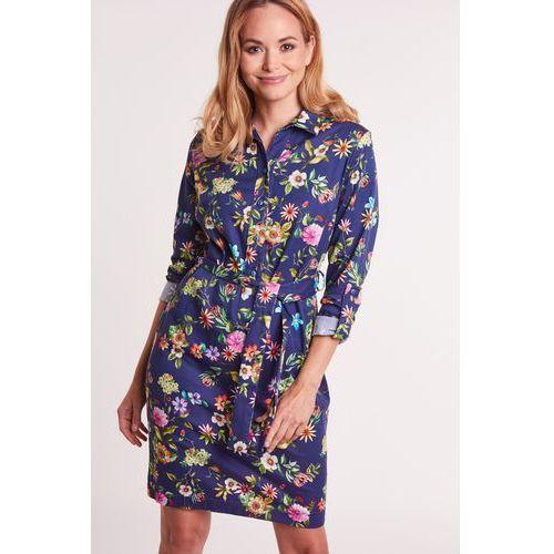 Duet woman Granatowa sukienka koszulowa w kwiaty -