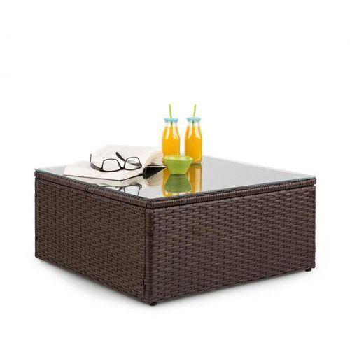 Blumfeldt theia table, stół ogrodowy, technorattan szklany blat, brązowy