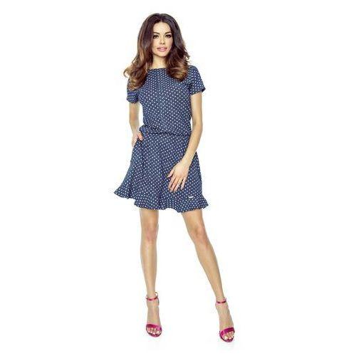 Wzorzysta Sukienka z Falbanką - Kropeczki, kolor niebieski