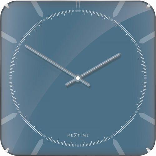 Zegar ścienny 3172 Michael Square Dome 35x35cm Nextime, kolor niebieski