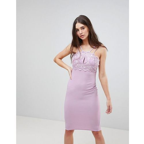double strap bodycon dress with lace detail - purple, Ax paris