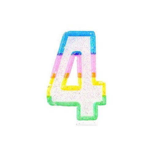 Tg Świeczka cyferka z brokatem - 4 - 7 cm (5900290744460)